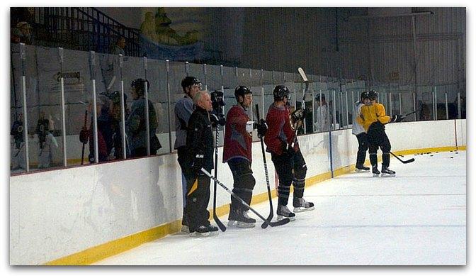 hiding in hockey practice line